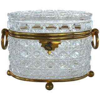 Antique Baccarat Cut Crystal Bronze Mounted Footed Oval Box With Original Key For Sale
