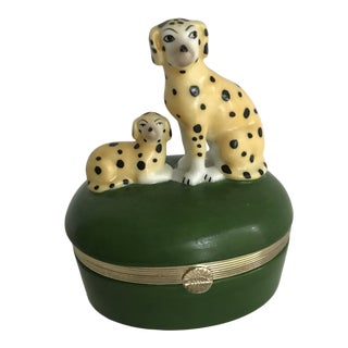 Fitz and Floyd Green Leopard Dalmatian Trinket Box For Sale