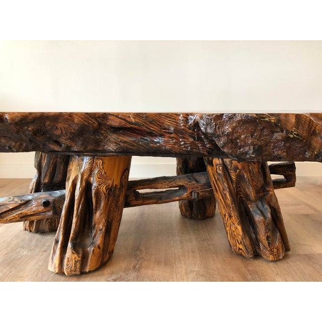 1970s Vintage Boho Chic Beefy Low-Profile Witco Style Raw Edge Coffee Table For Sale - Image 5 of 13