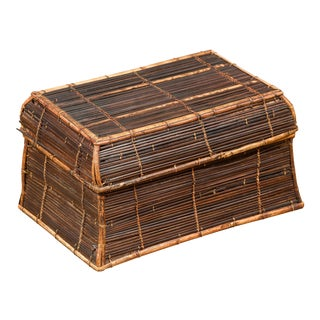 Vintage Banana Leaf Covered and Bamboo Farmer's Basket from the Philippines For Sale