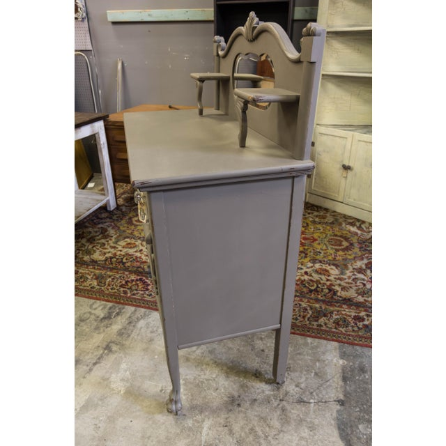 Gray Vintage Gray Sideboard Cabinet With Mirror For Sale - Image 8 of 9