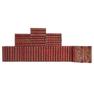Antique Red Leather Poets Book Set, (S/52) For Sale