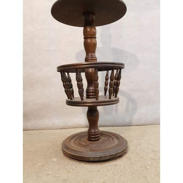 Brown Early 20th Century Solid French Floor Lamp With Attached Table For Sale - Image 8 of 9