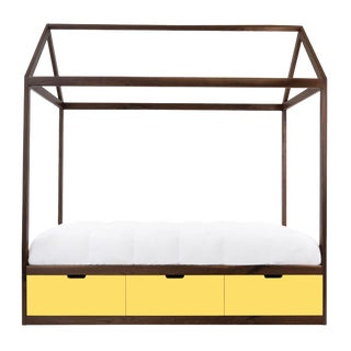 Domo Zen Full Canopy Bed in Walnut With Yellow Finish Drawers For Sale