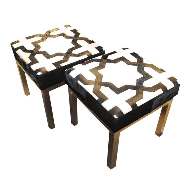 Metal Modern Geometric Print Cowhide Ottomans- a Pair For Sale - Image 7 of 7