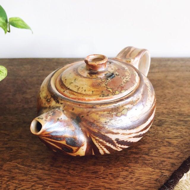 Vintage Japanese Studio Pottery Stoneware Teapot For Sale - Image 4 of 6