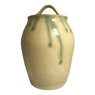 Yellow Lidded Pottery Jar