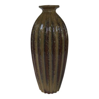 1960s Mid-Century Modern Art Pottery Tall Ridged Brown Vase For Sale