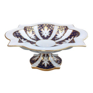 French Limoges White, Blue and Gold Hand Painted Porcelain Compote Centerpiece For Sale