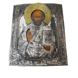 Antique Russian Icon of St. Nicholas Painting For Sale
