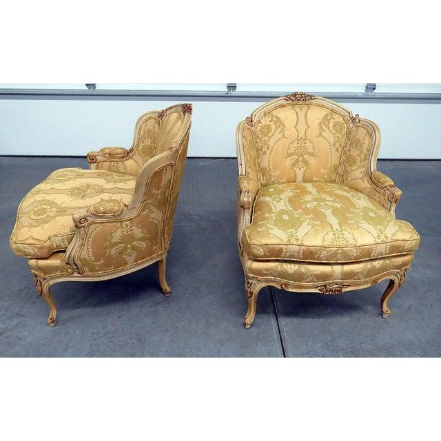 Drexel Heritage Pair of Drexel Heritage Louis XVI Style Bergeres For Sale - Image 4 of 10