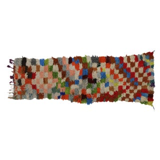 Vintage Berber Moroccan Boucherouite Accent Rug For Sale