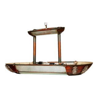 1920s French Art Deco Atelier Petitot Style Copper and Glass Ceiling Light For Sale