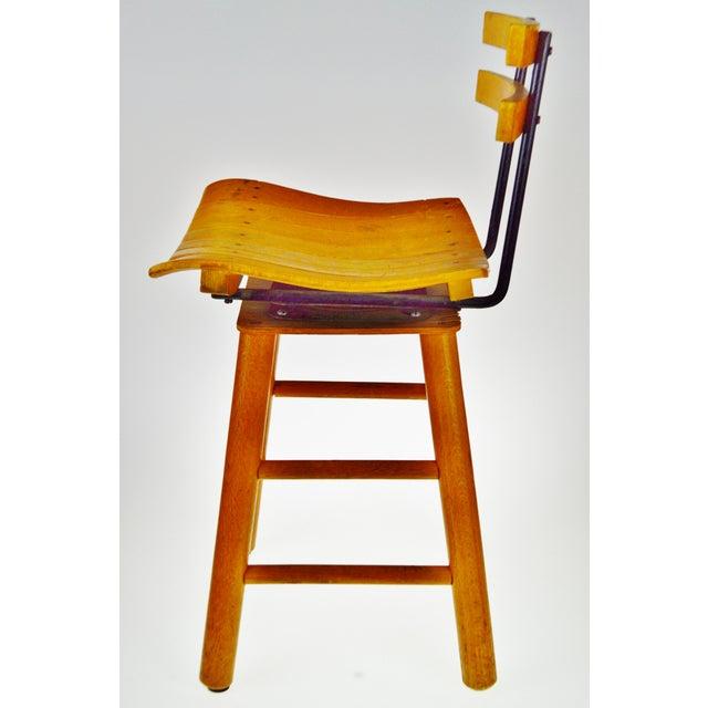 Mid 20th Century Mid Century Arthur Umanoff Style Slatted Wood Swivel Stool For Sale - Image 5 of 13