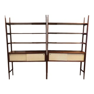 Walnut Mid Century Modern Wall Units Room Dividers - a Pair For Sale