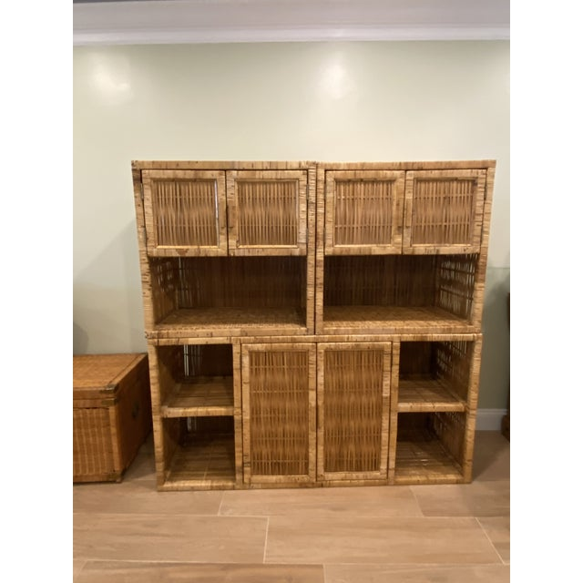 Vintage Palm Beach Boho Chic Wicker Rattan Shelving Unit For Sale - Image 11 of 12
