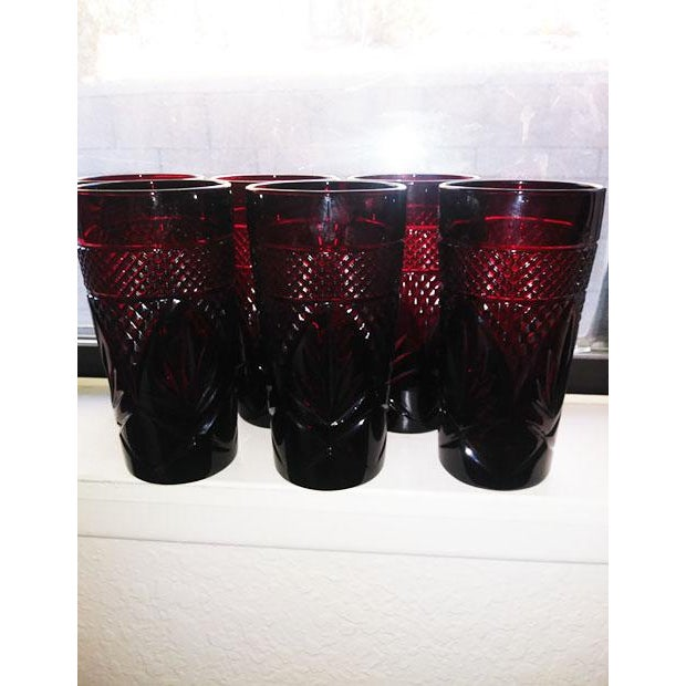 Set of 6 Antique Ruby Cristal D Arques-Durand Height: 6 1/8 in Width: 3 in Pressed Glass Pattern Diamonds and Ferns...