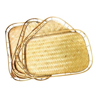 1970s Vintage Bamboo Serving Trays - Set of 4