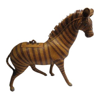 Bielecky Brothers Style Woven Wicker Zebra Trinket Box For Sale