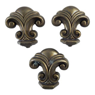 Vintage Heavy Metal Retro Drawer Pulls - Set of 3 For Sale