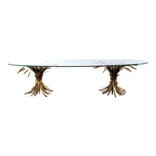 Vintage Hollywood Regency Double Sheaf of Wheat Base Coffee Table For Sale