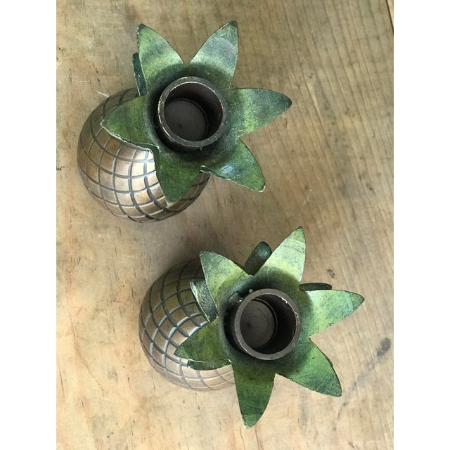 Pineapple Candle Stick Holder Palm Beach Style - a Pair For Sale - Image 10 of 11
