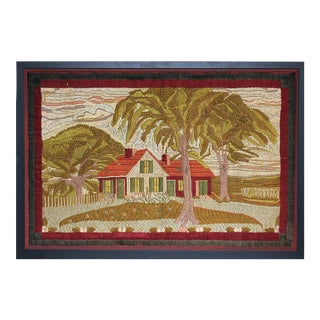 Large Woolwork Picture of a Farmhouse, First Part of the 20th Century. For Sale