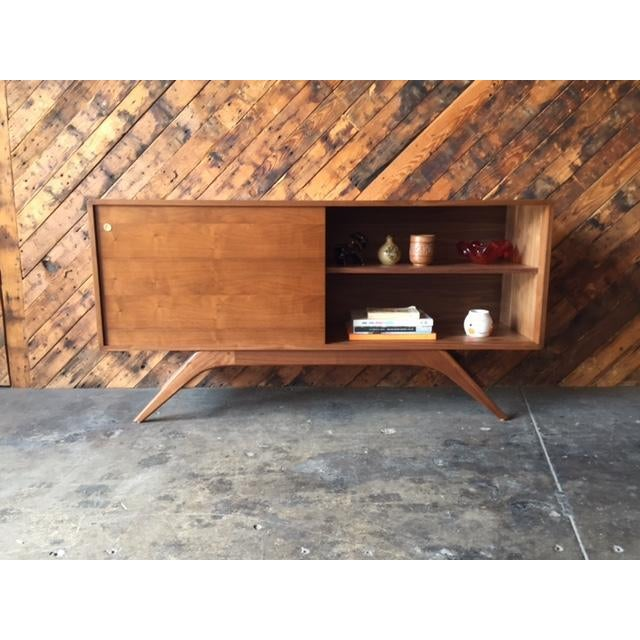 Mid-Century Modern Mid Century Style Custom Walnut Sculpted Base Credenza For Sale - Image 3 of 9