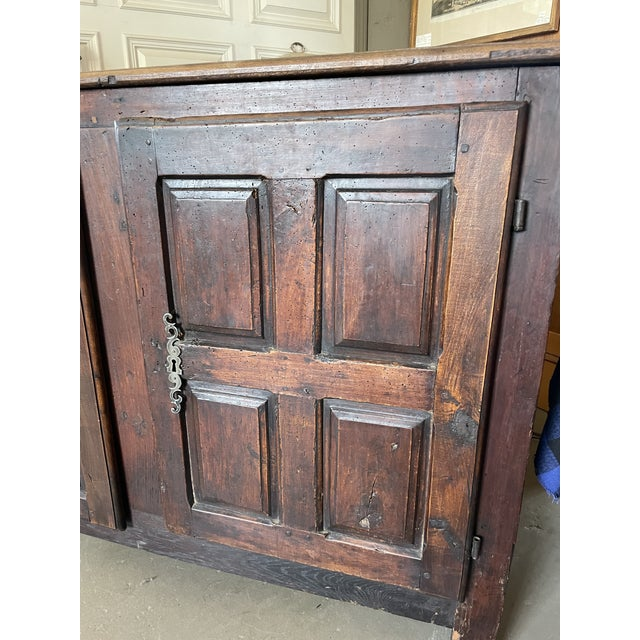 Early 18th Century Antique Rustic French Country Louis XIV Hardwood Two Door Storage Cupboard For Sale - Image 5 of 13