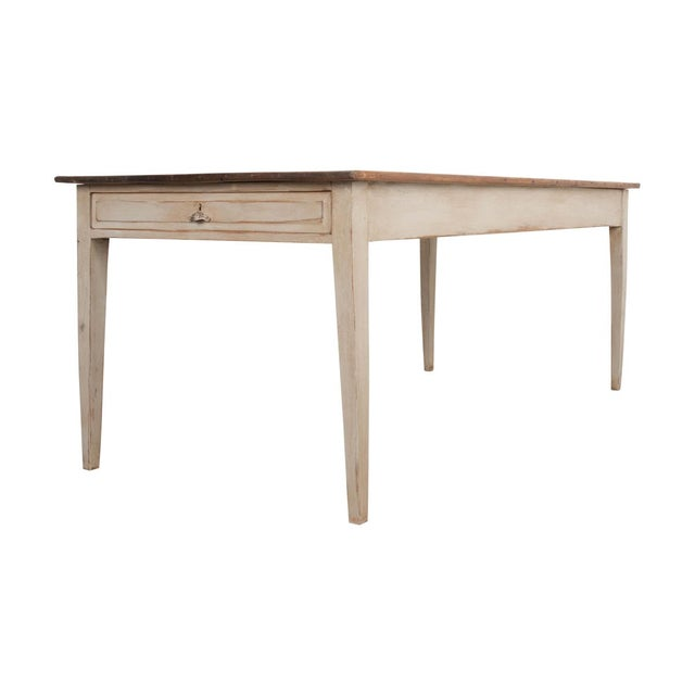 19th Century English Painted Pine Farm Table For Sale - Image 10 of 10