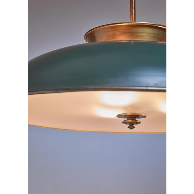 Large Swedish brass pendant lamp by Harald Notini, 1930s For Sale - Image 4 of 6
