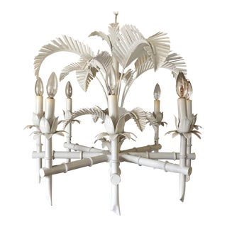 Vintage Tole Palm Chandelier For Sale