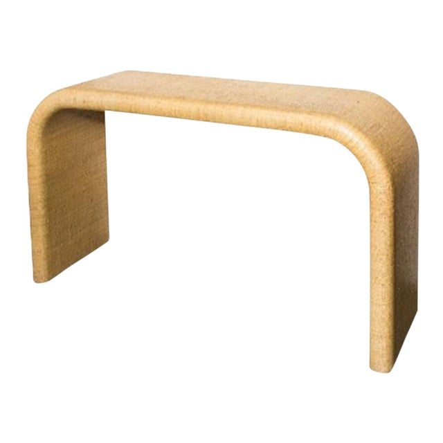 Mid-Century Wrapped Grasscloth Waterfall Console Table For Sale