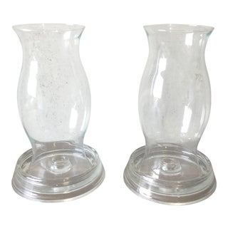 Glass Hurricane Candle Stick Holders- a Pair