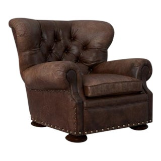 Modern Restoration Hardware Churchill Style Leather Chair For Sale