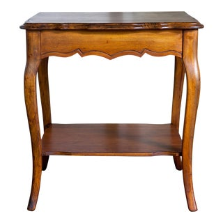 Queen Anne Cherry Wood Scalloped Two-Tiered Occasional Table For Sale