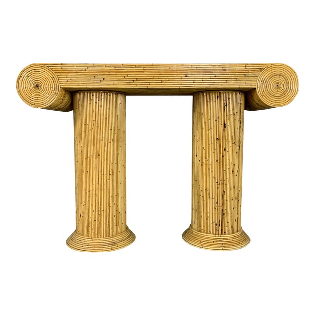 Gabriella Crespi Style Mid-Century Caned Bamboo Console Table For Sale