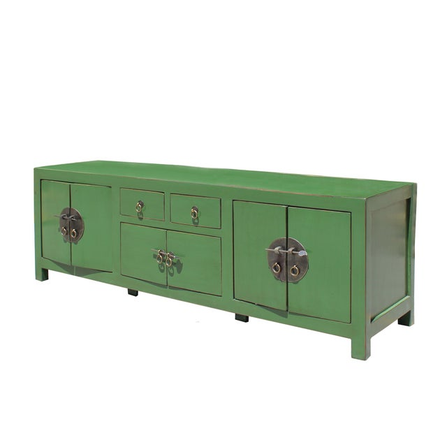 Asian Chinese Distressed Medium Dark Moss Green Low Tv Console Table Cabinet For Sale - Image 3 of 7