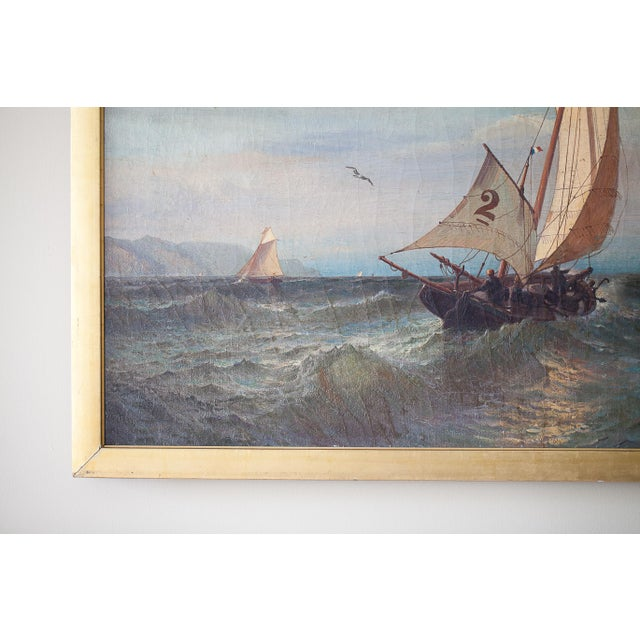 """""""Regatta on a Choppy Sea"""" Oil Painting on Canvas by Julian O. Davidson, Dated 1877 For Sale In Washington DC - Image 6 of 13"""