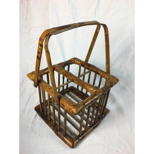 Asian 20th Century Chinoiserie Bamboo Bottle Basket in Burned & Lacquered Tortoise Finish For Sale - Image 3 of 6