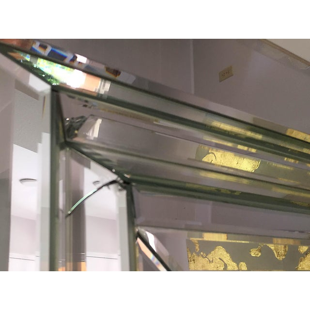 Glass Leaning Six-Bevel Framed Mirror For Sale - Image 7 of 9
