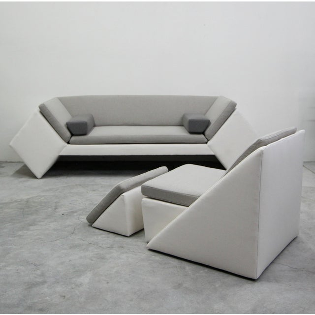 Post Modern Geometric Sofa and Chair With Ottoman Set by Thayer Coggin For Sale - Image 12 of 13