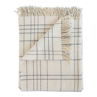 Merino Lambswool Patterned Throw in Check Pearl For Sale