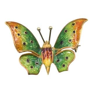 Enamel Butterfly 18k Gold Brooch Pin For Sale
