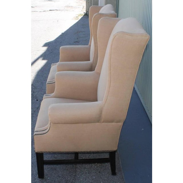 Pair of Fantastic 1920s Wing Chairs in Mocha Linen For Sale - Image 4 of 7