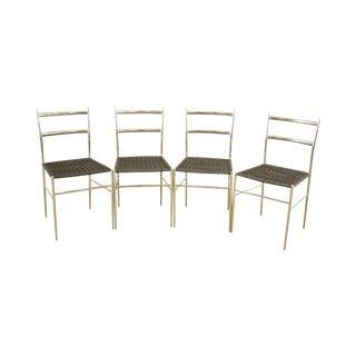 "Gio Ponti ""Leggera"" Chrome & Vinyl Chairs Set of 4 Mid Century Modern For Sale"