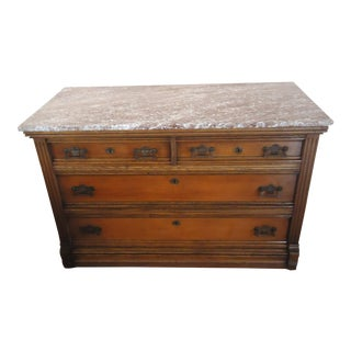 Vintage Victorian Eastlake Walnut Marble Top Chest Of Drawers For Sale