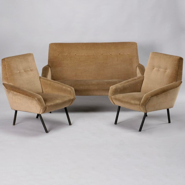Metal Mid-Century Italian Settee in the style of Marco Zanuso For Sale - Image 7 of 8