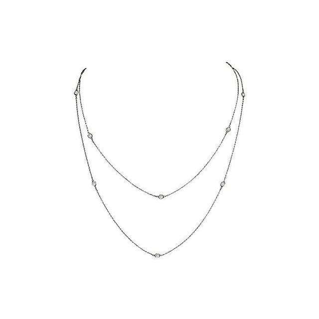 1920s Long Platinon & Crystal Necklace For Sale - Image 4 of 4