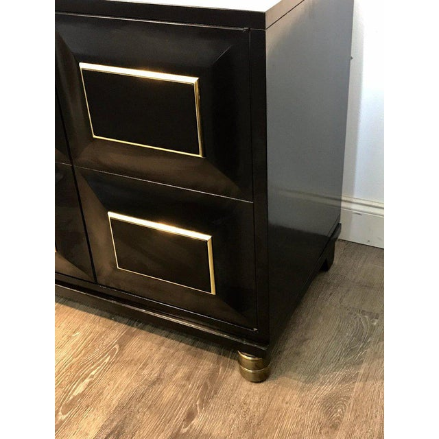 Pair of Mastercraft Black Lacquer and Brass Block Front Cabinets For Sale - Image 11 of 12